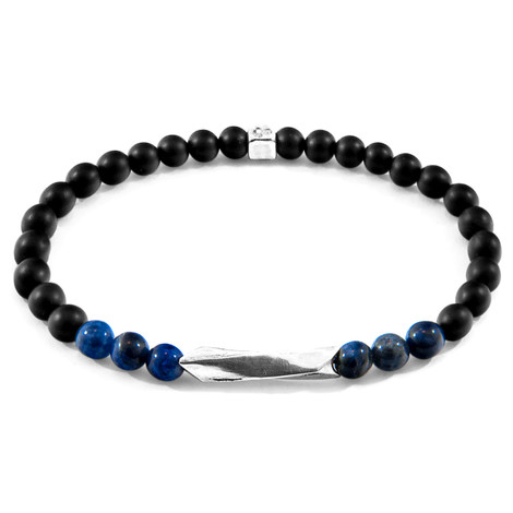 Anchor & Crew Blue Sodalite Orinoco Silver and Stone Bracelet