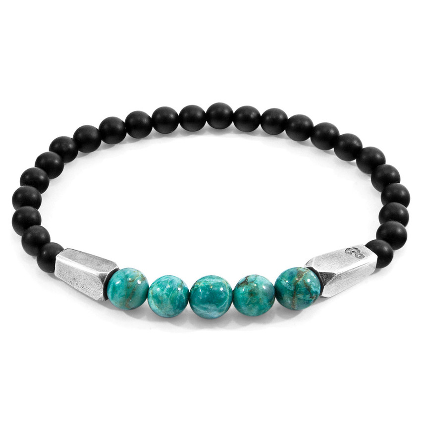 Anchor & Crew Blue Turquoise Hukou Silver and Stone Bracelet