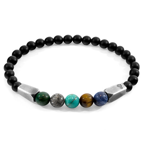 Anchor & Crew Multicoloured Multi-Gem Hukou Silver and Stone Bracelet