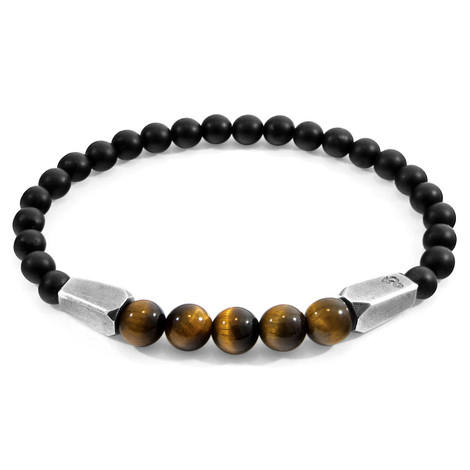Anchor & Crew Brown Tigers Eye Hukou Silver and Stone Bracelet