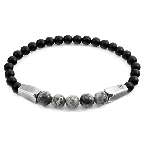 Anchor & Crew Grey Jasper Hukou Silver and Stone Bracelet