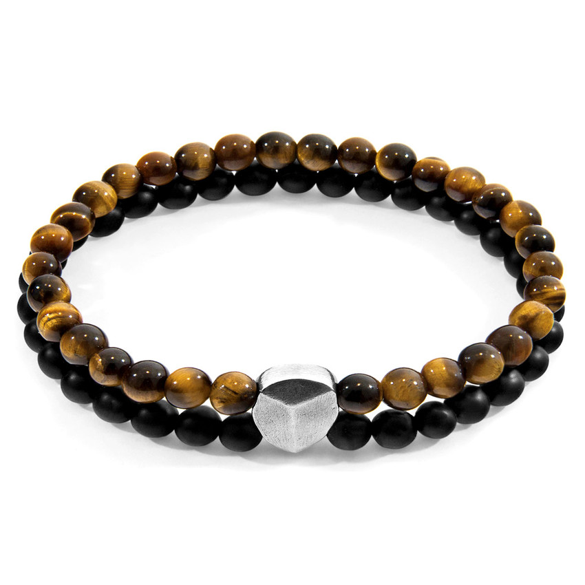 Anchor & Crew Brown Tigers Eye Iguazu Silver and Stone Bracelet