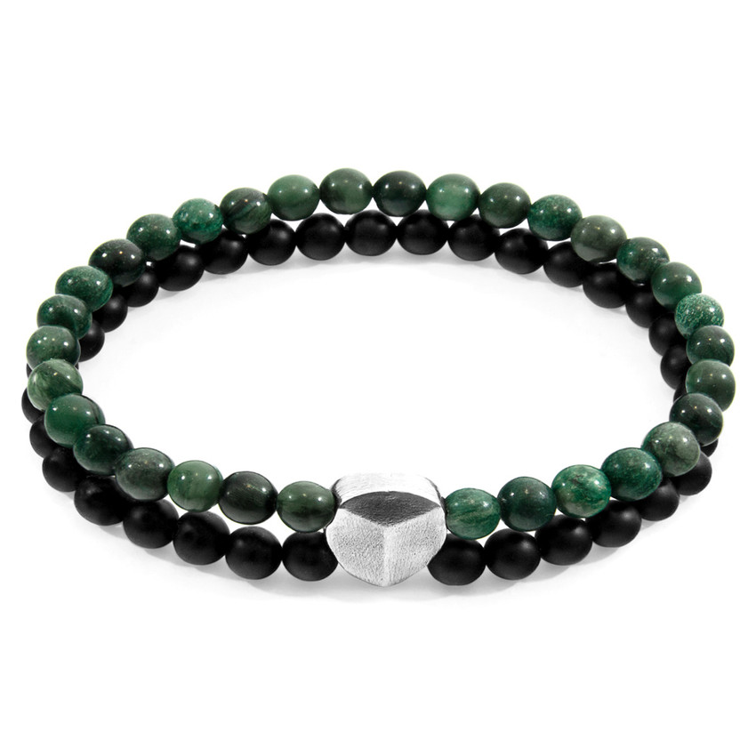 Anchor & Crew Green Jade Iguazu Silver and Stone Bracelet