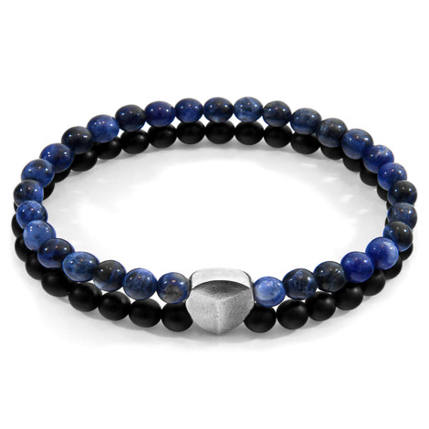 Anchor & Crew Blue Sodalite Iguazu Silver and Stone Bracelet