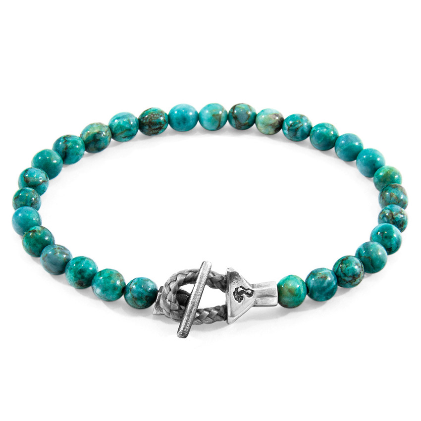 Anchor & Crew Blue Turquoise Mantaro Silver and Stone Bracelet