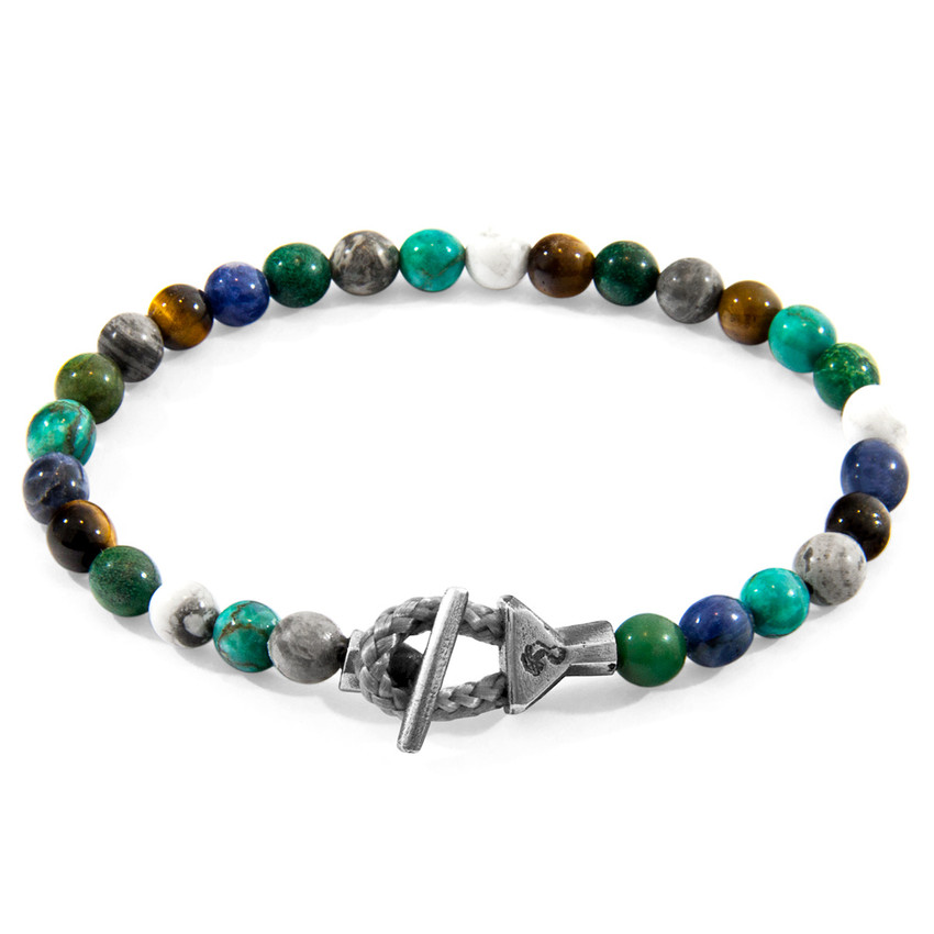 Anchor & Crew Multicoloured Multi-Gem Mantaro Silver and Stone Bracelet