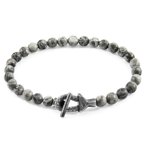 Anchor & Crew Grey Jasper Mantaro Silver and Stone Bracelet