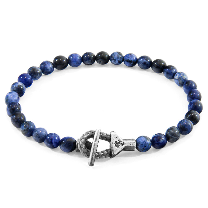 Anchor & Crew Blue Sodalite Mantaro Silver and Stone Bracelet