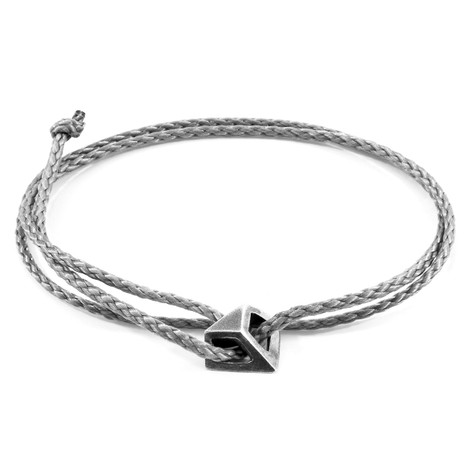 Anchor & Crew Classic Grey Arthur Silver and Rope SKINNY Bracelet