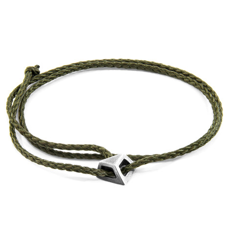 Anchor & Crew Khaki Green Arthur Silver and Rope SKINNY Bracelet