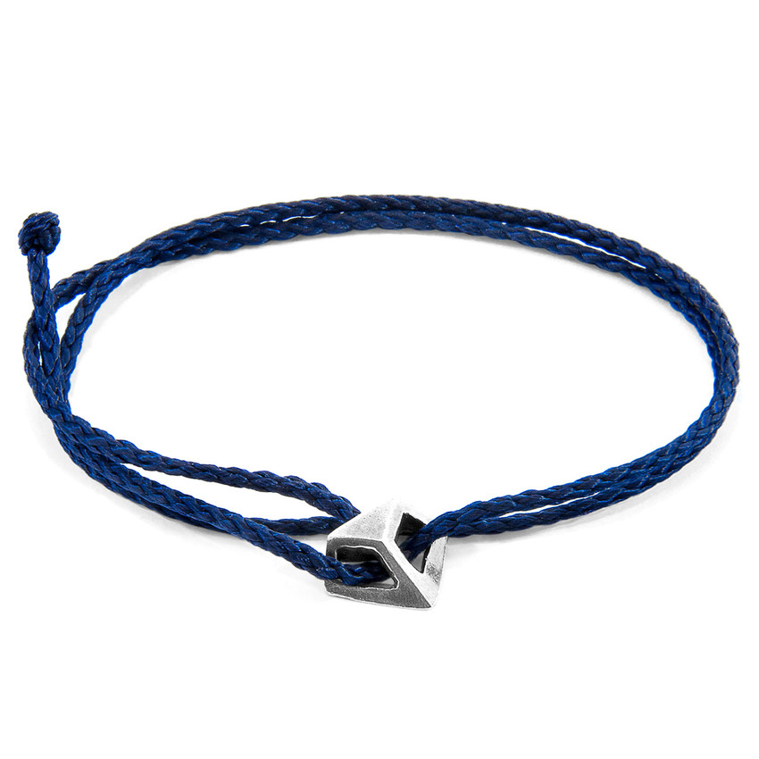 Anchor & Crew Navy Blue Arthur Silver and Rope SKINNY Bracelet