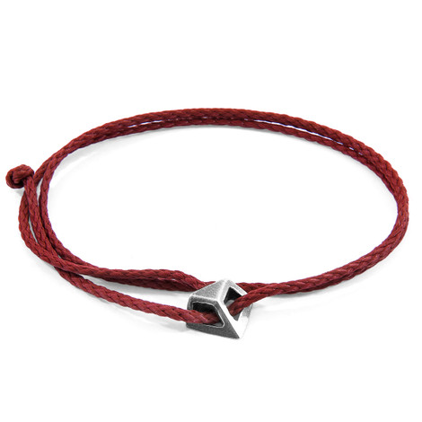 Anchor & Crew Burgundy Red Arthur Silver and Rope SKINNY Bracelet
