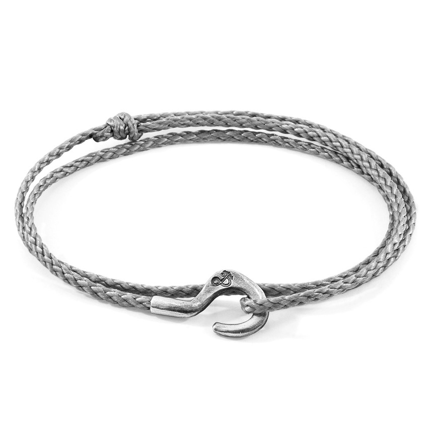 Anchor & Crew Classic Grey Charles Silver and Rope SKINNY Bracelet