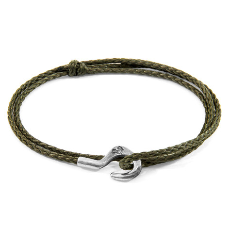 Anchor & Crew Khaki Green Charles Silver and Rope SKINNY Bracelet