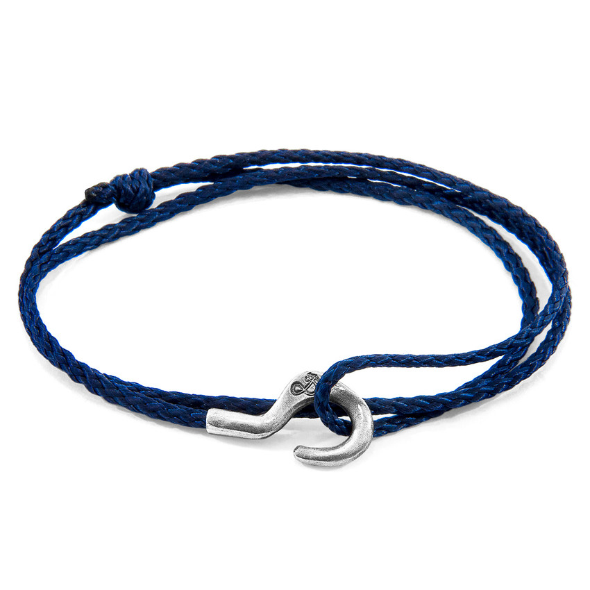 Anchor & Crew Navy Blue Charles Silver and Rope SKINNY Bracelet