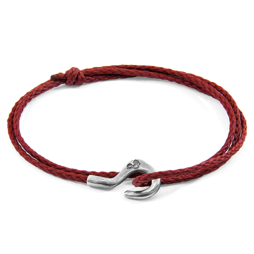 Anchor & Crew Burgundy Red Charles Silver and Rope SKINNY Bracelet