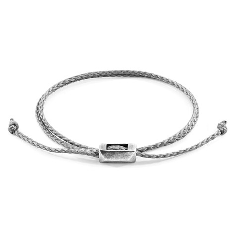 Anchor & Crew Classic Grey Edward Silver and Rope SKINNY Bracelet