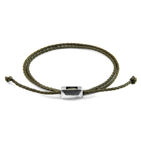 Anchor & Crew Khaki Green Edward Silver and Rope SKINNY Bracelet