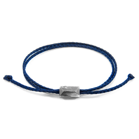 Anchor & Crew Navy Blue Edward Silver and Rope SKINNY Bracelet
