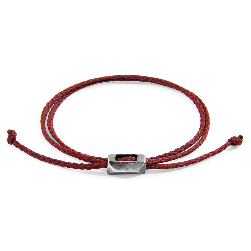 Anchor & Crew Burgundy Red Edward Silver and Rope SKINNY Bracelet