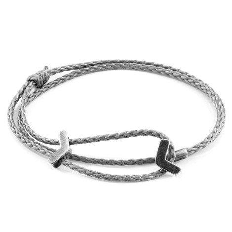 Anchor & Crew Classic Grey William Silver and Rope SKINNY Bracelet