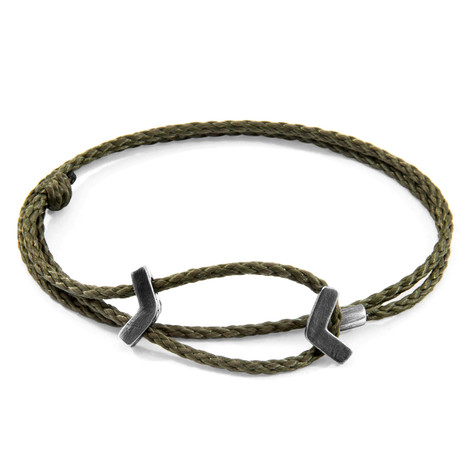 Anchor & Crew Khaki Green William Silver and Rope SKINNY Bracelet