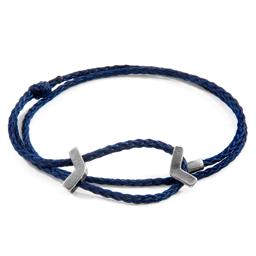 Anchor & Crew Navy Blue William Silver and Rope SKINNY Bracelet
