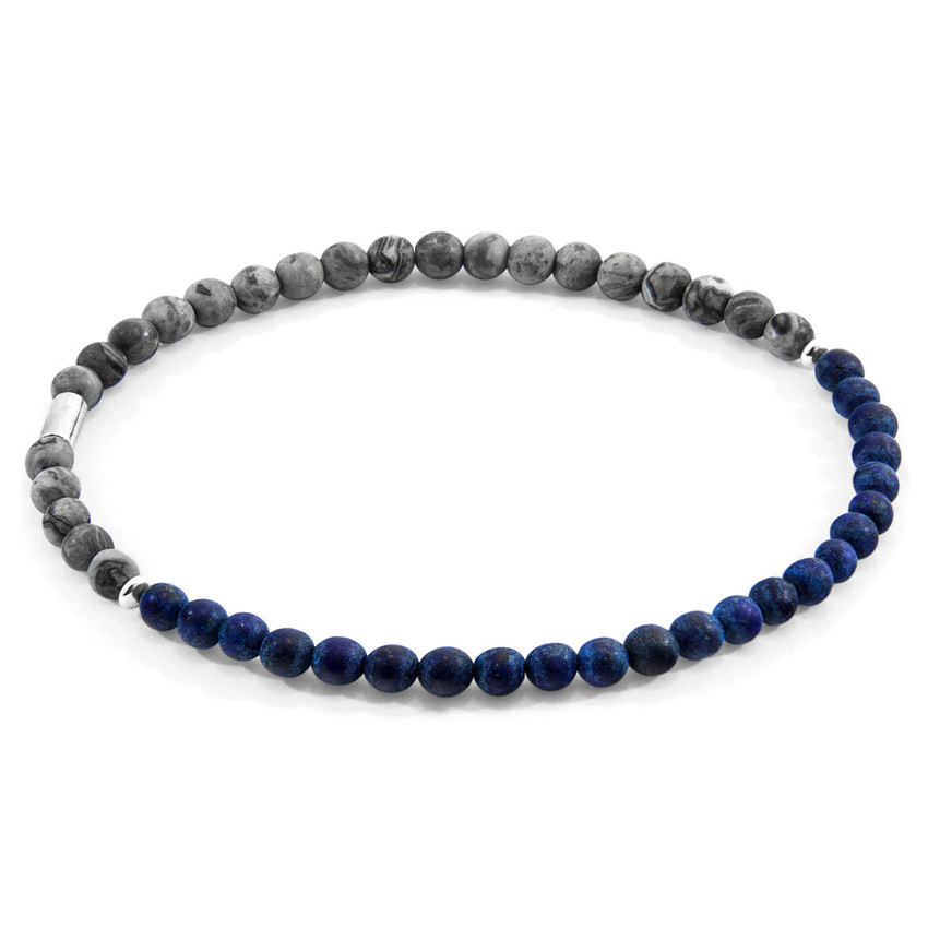 Anchor & Crew Blue Sodalite and Grey Jasper Alexander Silver and Stone SKINNY Bracelet