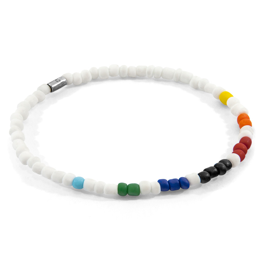 Anchor & Crew Multicoloured - White Edgar Silver and Glass SKINNY Bracelet
