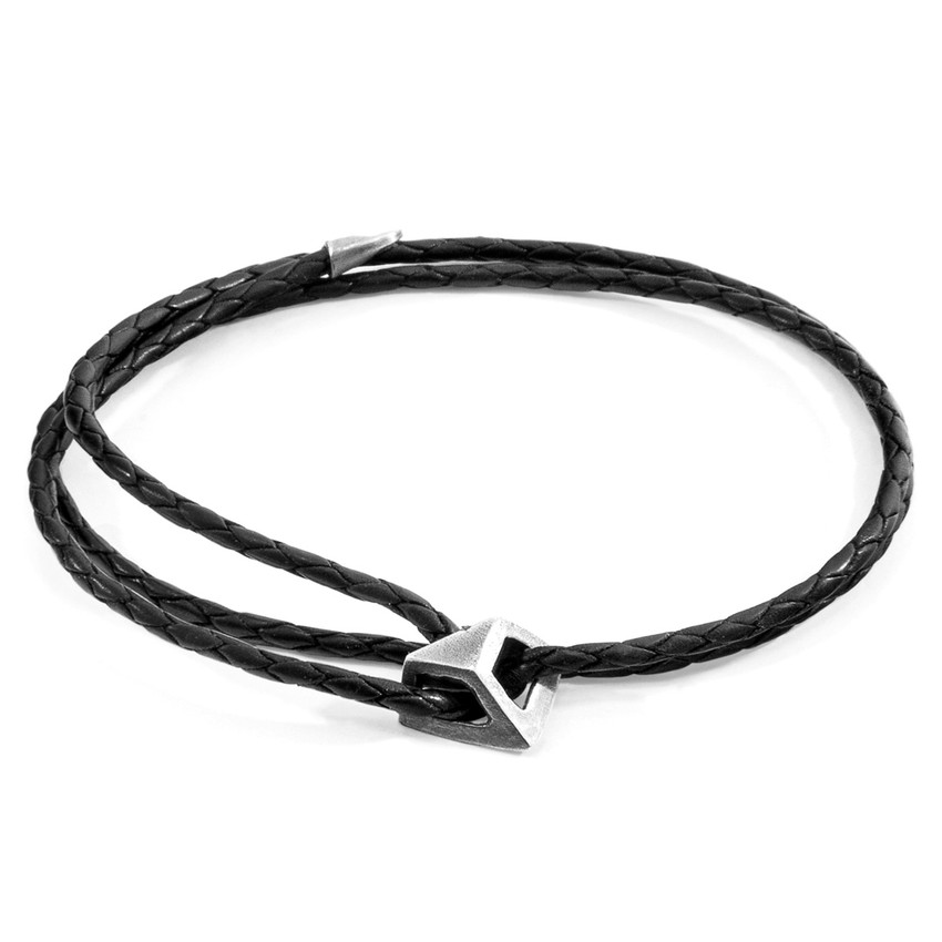 Anchor & Crew Midnight Black Arthur Silver and Braided Leather SKINNY Bracelet
