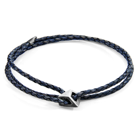 Anchor & Crew Indigo Blue Arthur Silver and Braided Leather SKINNY Bracelet
