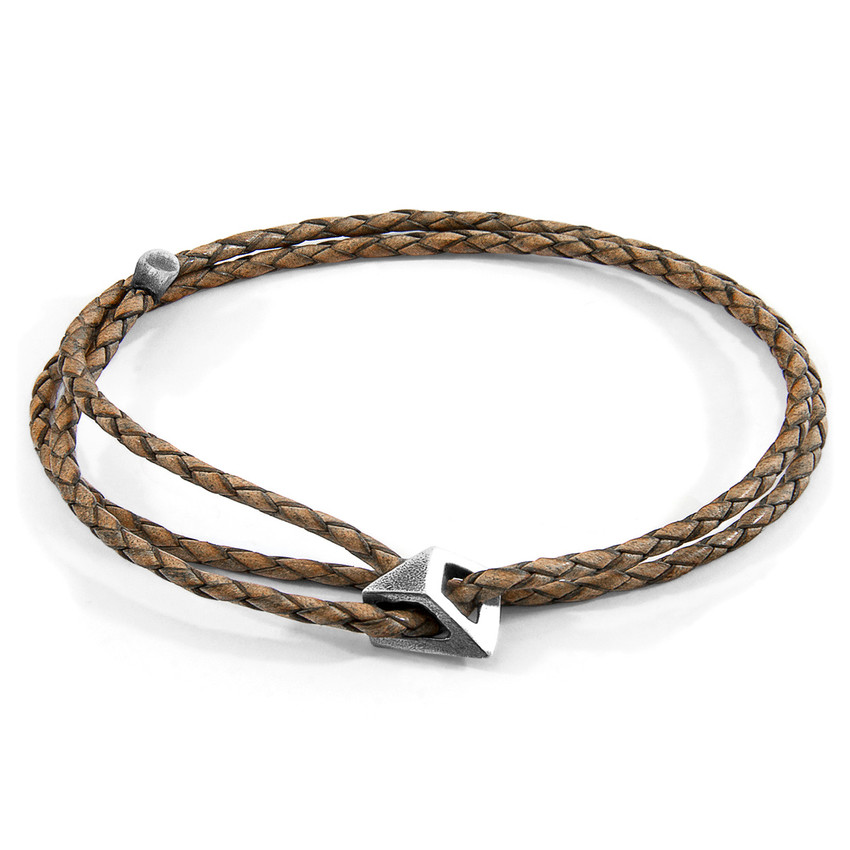 Anchor & Crew Taupe Grey Arthur Silver and Braided Leather SKINNY Bracelet