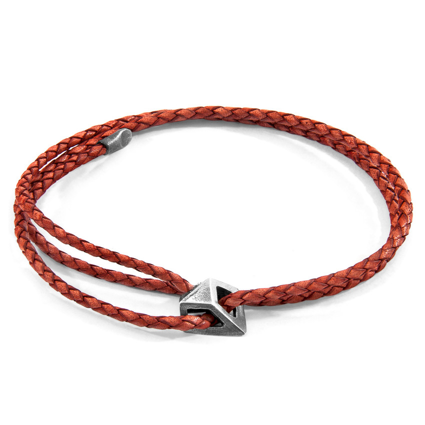 Anchor & Crew Amber Red Arthur Silver and Braided Leather SKINNY Bracelet