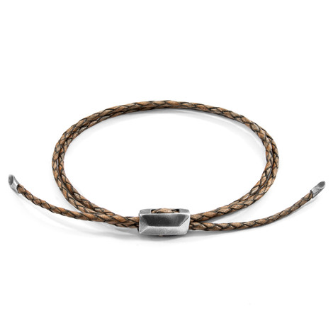 Anchor & Crew Taupe Grey Edward Silver and Braided Leather SKINNY Bracelet