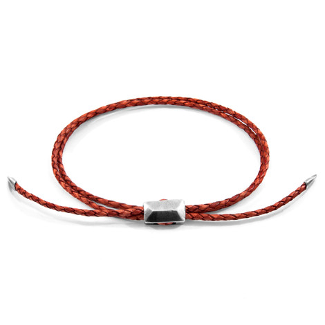 Amber Red Edward Silver and Braided Leather SKINNY Bracelet