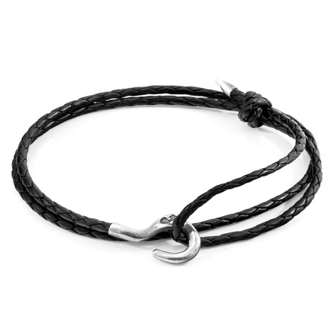 Anchor & Crew Midnight Black Charles Silver and Braided Leather SKINNY Bracelet