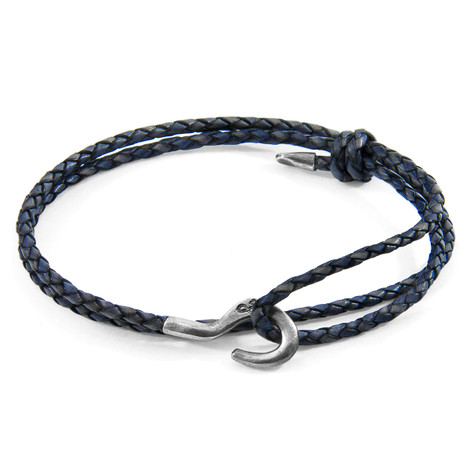 Anchor & Crew Indigo Blue Charles Silver and Braided Leather SKINNY Bracelet