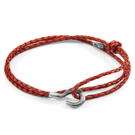 Anchor & Crew Amber Red Charles Silver and Braided Leather SKINNY Bracelet