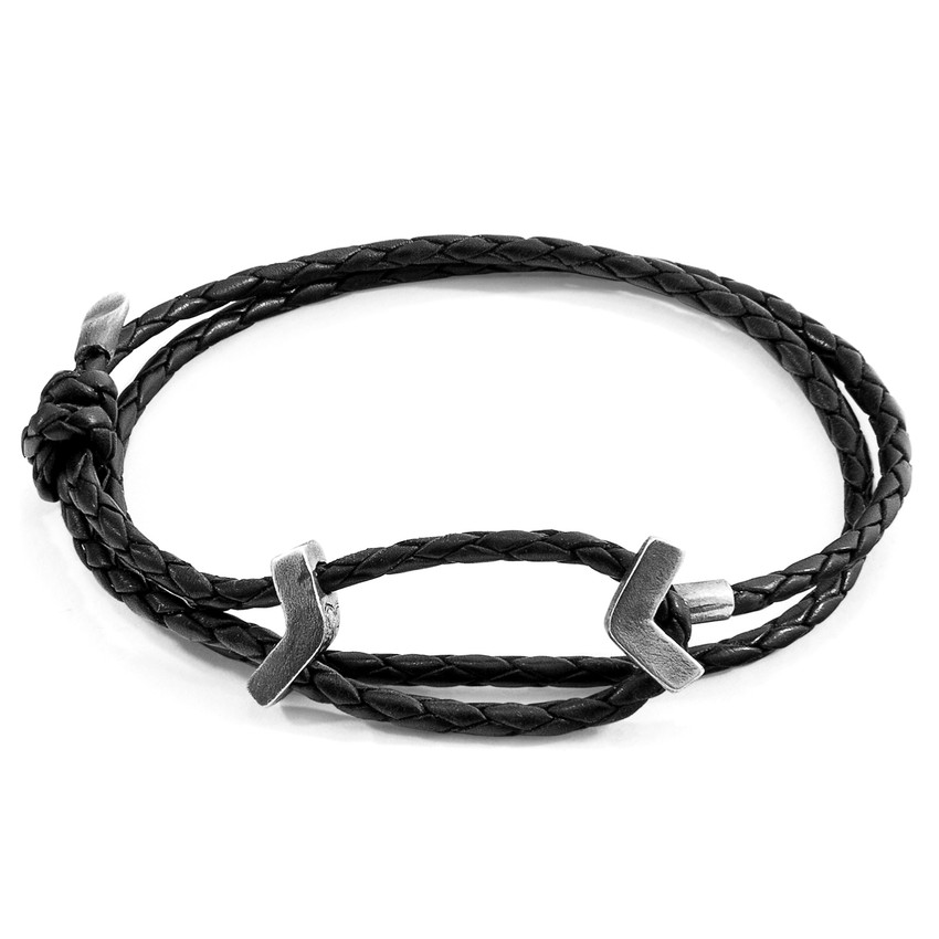 Anchor & Crew Midnight Black William Silver and Braided Leather SKINNY Bracelet