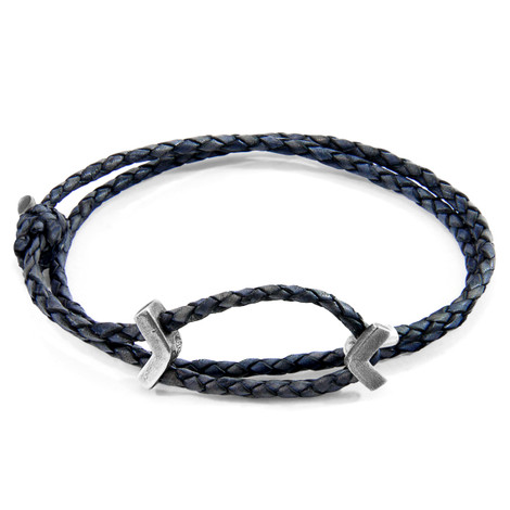 Anchor & Crew Indigo Blue William Silver and Braided Leather SKINNY Bracelet