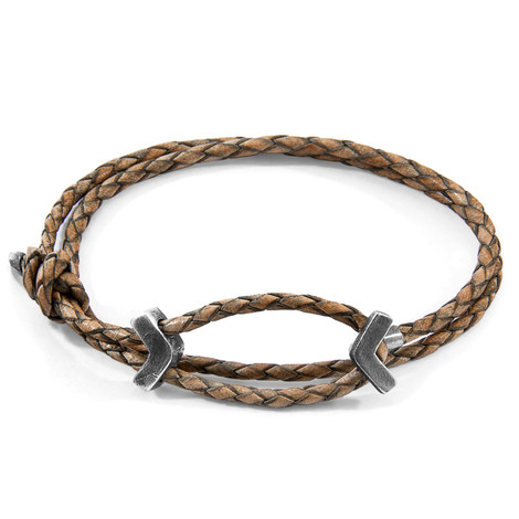Anchor & Crew Taupe Grey William Silver and Braided Leather SKINNY Bracelet