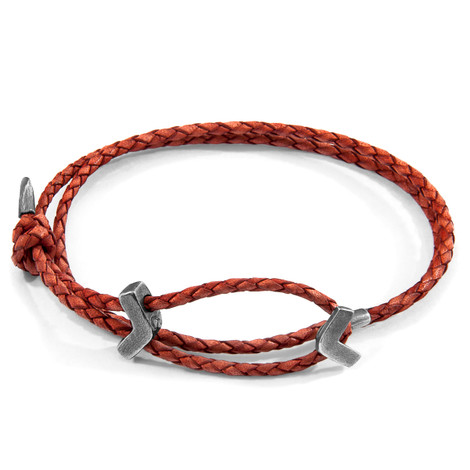 Anchor & Crew Amber Red William Silver and Braided Leather SKINNY Bracelet