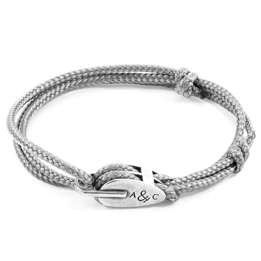 Anchor & Crew Classic Grey Tyne Silver and Rope Bracelet