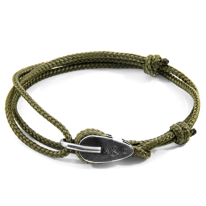 Anchor & Crew Khaki Green Tyne Silver and Rope Bracelet