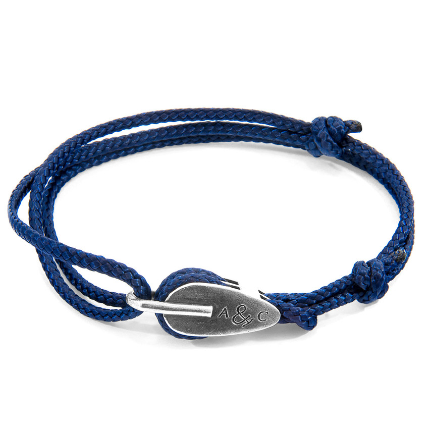 Anchor & Crew Navy Blue Tyne Silver and Rope Bracelet