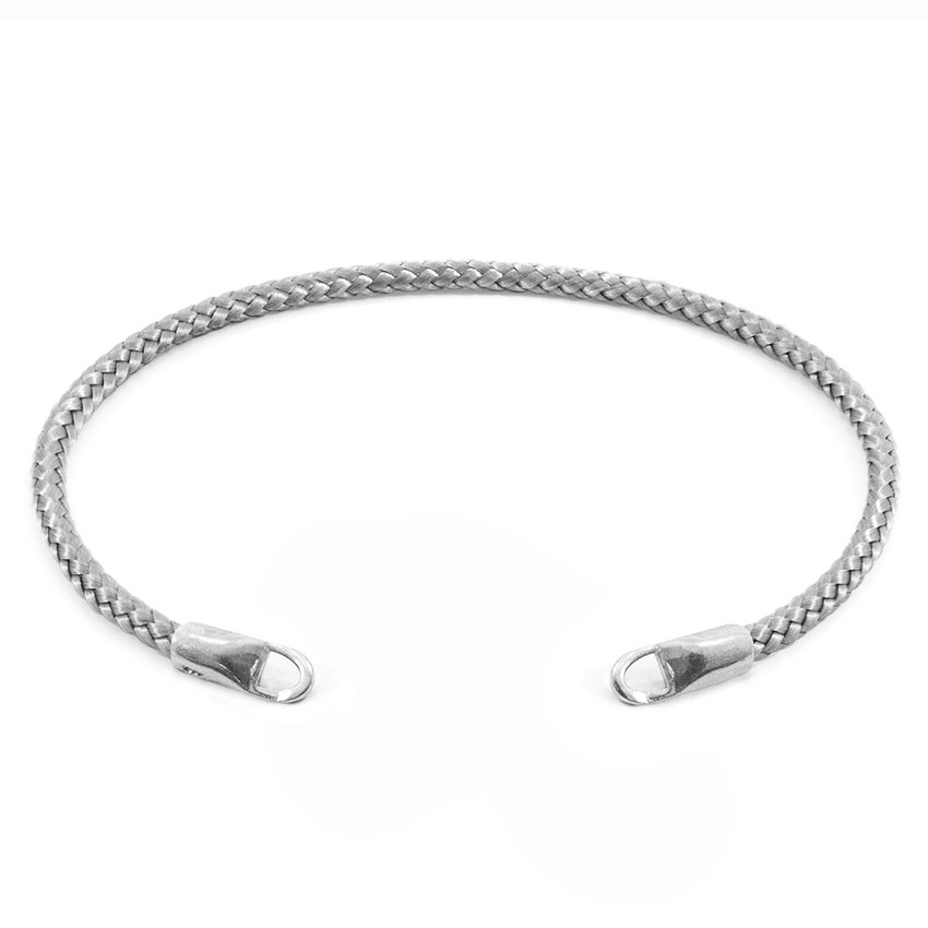 Anchor & Crew Classic Grey CUSTOM Bracelet Rope and Silver Line