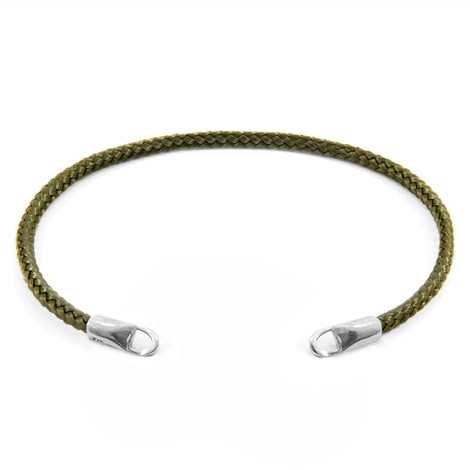 Anchor & Crew Khaki Green CUSTOM Bracelet Rope and Silver Line