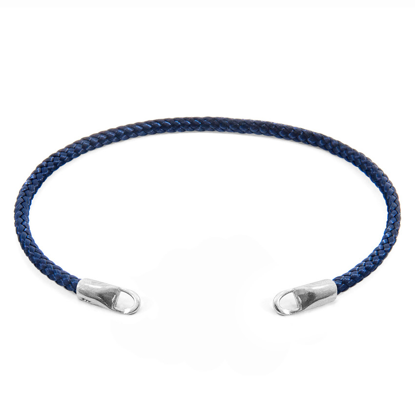 Anchor & Crew Navy Blue CUSTOM Bracelet Rope and Silver Line