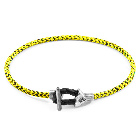 Anchor & Crew Yellow Noir Cullen Silver and Rope Bracelet