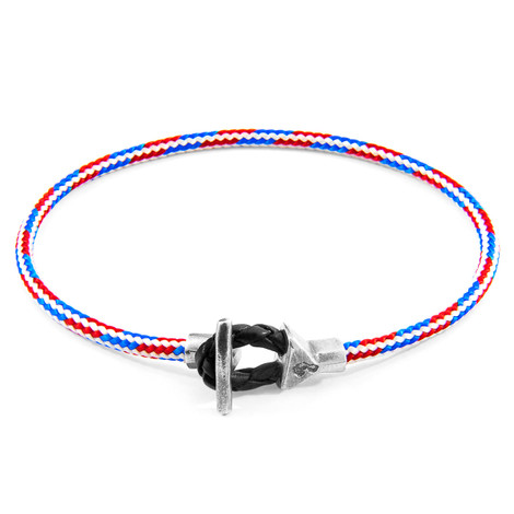 Anchor & Crew Project-RWB Red White and Blue Cullen Silver and Rope Bracelet